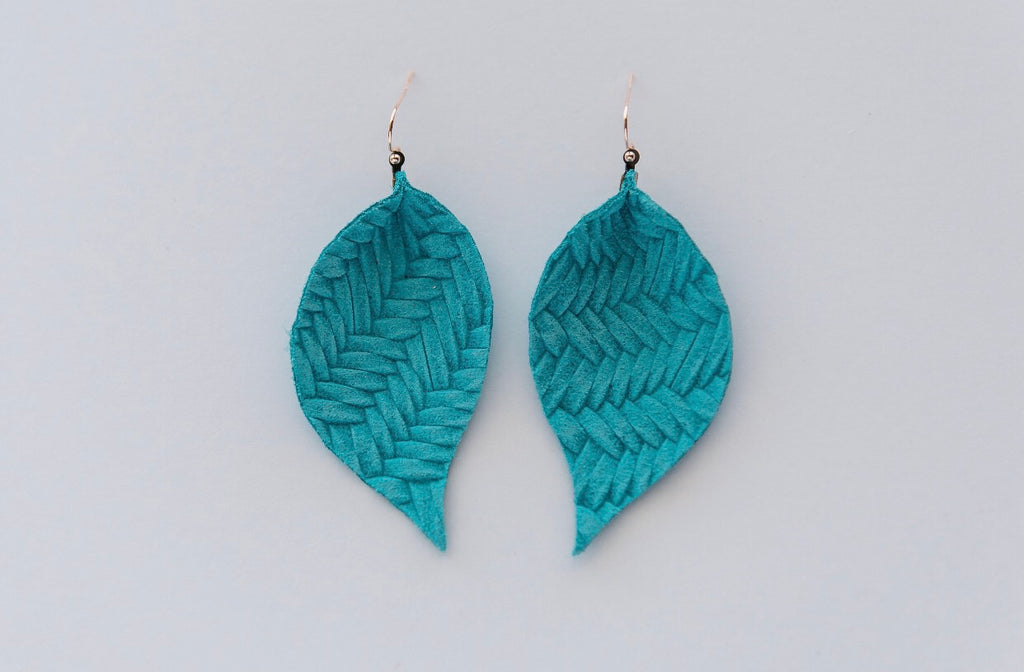 Turquoise Basketweave Single Layer Leaf Earrings