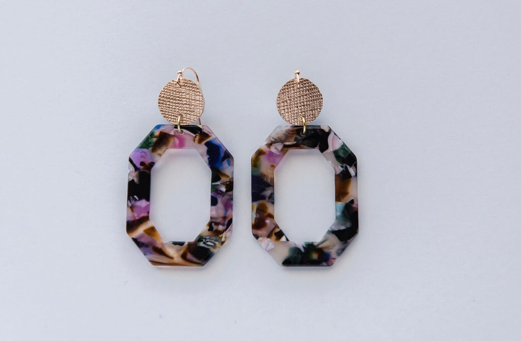 Hexagon Colorful Acrylic Earrings