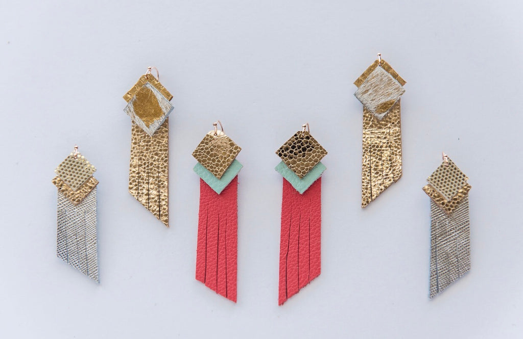 Diamond Top Fringe in Gold, Mint & Coral