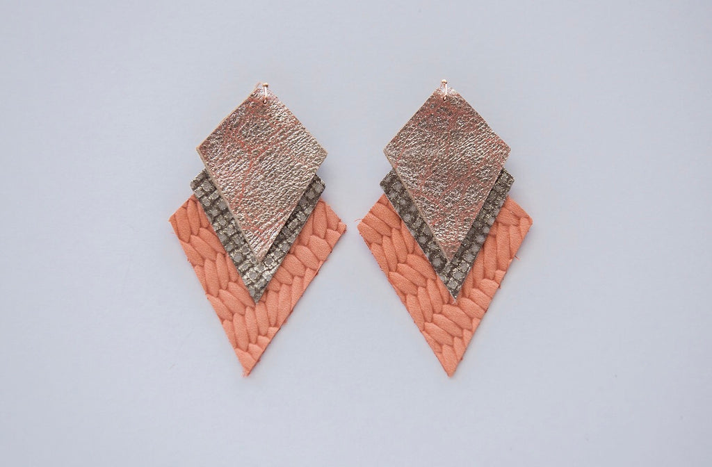 Coral Pop Triple Layer Aztec Earrings