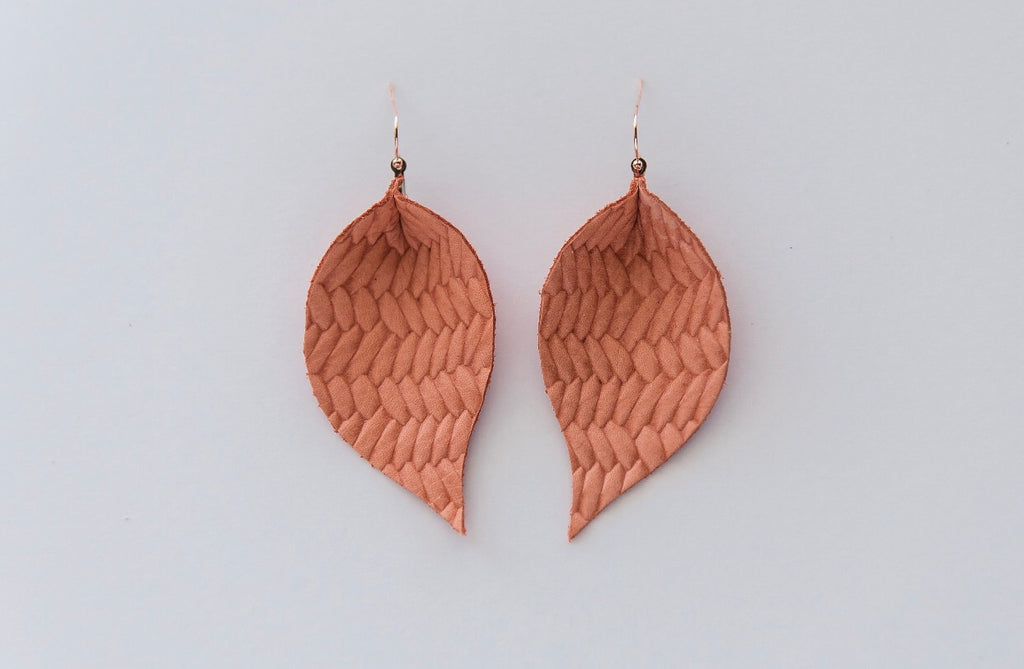 Coral Basketweave Single Layer Leaf Earrings