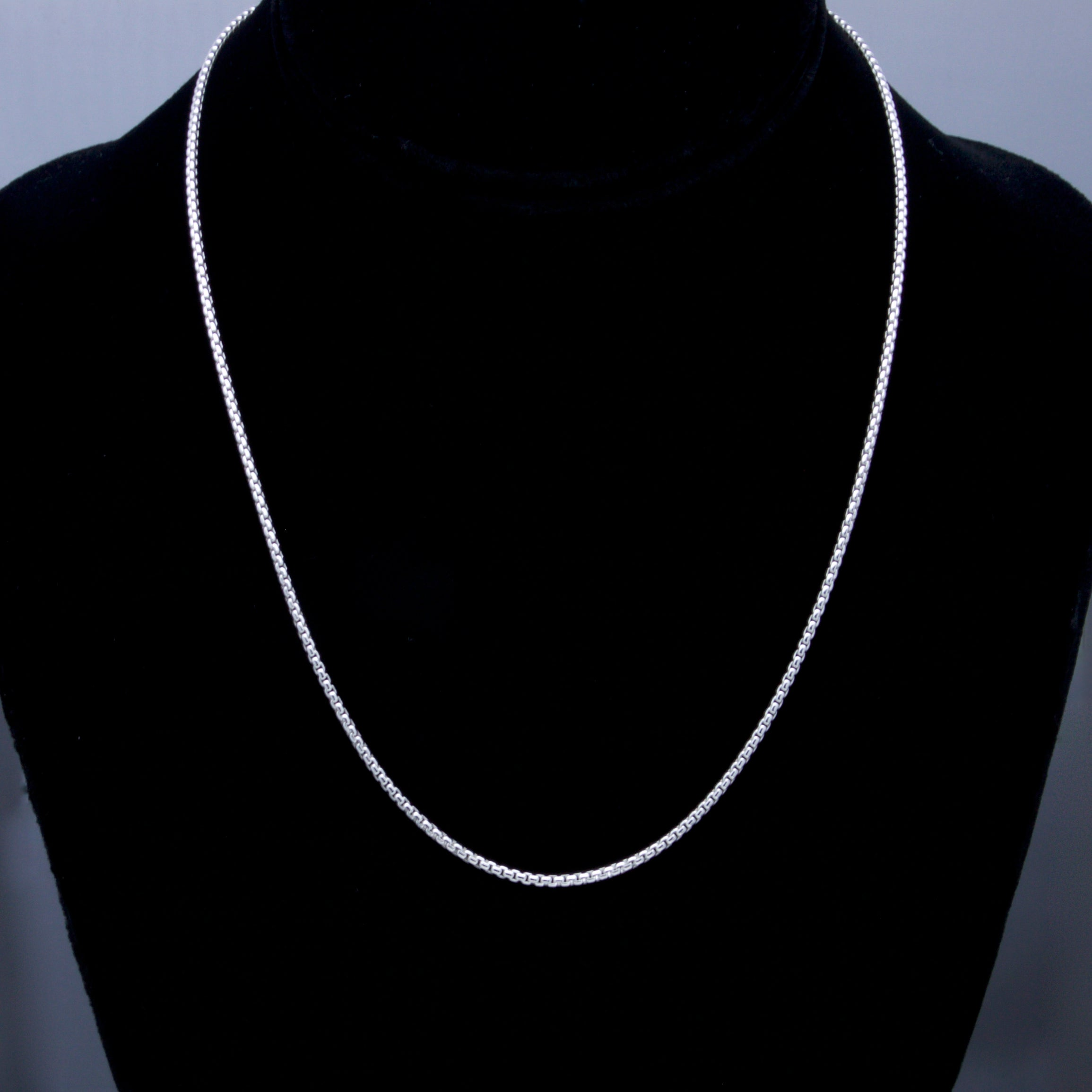 """STERING SILVER 16/"""" ITALIAN ROUND BOX CHAIN NECKLACE 1.8mm"""