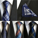 (1pieces/lot) 100% Silk tie set Mens Neck Tie Pocket Square Set 2016 New 8cm Gravata Wedding Ties For Men Slim Necktie-novahe