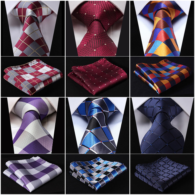 "Check 3.4"" Silk Fashion Mens Extra Long Tie Necktie Handkerchief Set #Q5 Pocket Square Classic Party Wedding-novahe"