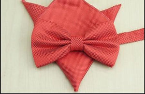 20 Colors Classic Solid Bowtie Set Men Wedding Dress Butterfly Bow Tie Bowtie Pocket Square Handkerchief Suit Bowtie Set-novahe