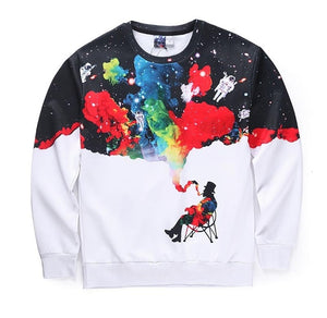 Mr.1991INC New Arrival Men/women 3d Sweatshirts Funny Print Smoking Person Colroful Smoke Space Galaxy Thin Casual Hoodies-novahe