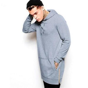 New Arrival Free Shipping Fashion Men's Long Black Hoodies Sweatshirts Feece With Side Zip Longline Hip Hop Streetwear Shirt-novahe