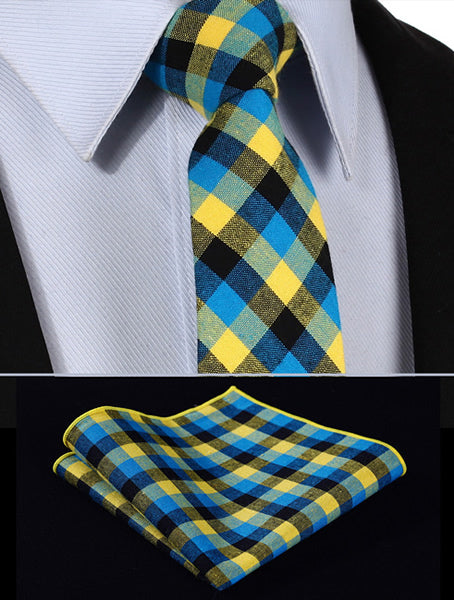 "TMC202Y7 Yellow Blue Plaid 2.75"" 100%Cotton Printed Slim Skinny Narrow Men Tie Necktie Handkerchief Pocket Square Suit Set-novahe"
