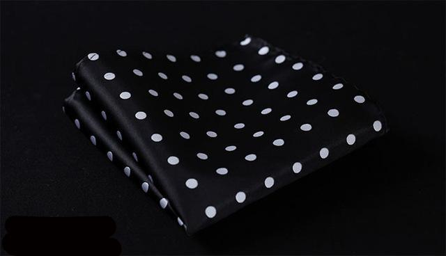 DE Polka Dot Silk Satin Pocket Square Hanky Jacquard Woven Classic Wedding Party Handkerchief-novahe