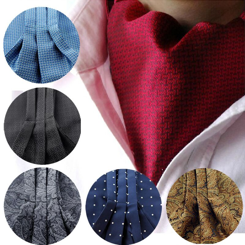 2017 new Fashion men necktie Polka Dot 100% Silk Ascot Cravat, Casual Jacquard Ties Woven Party black wedding lot-novahe
