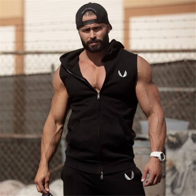 Men Cotton Hoodie Sweatshirts fitness clothes bodybuilding tank top men Sleeveless Tees Shirt Casual golds vest-novahe