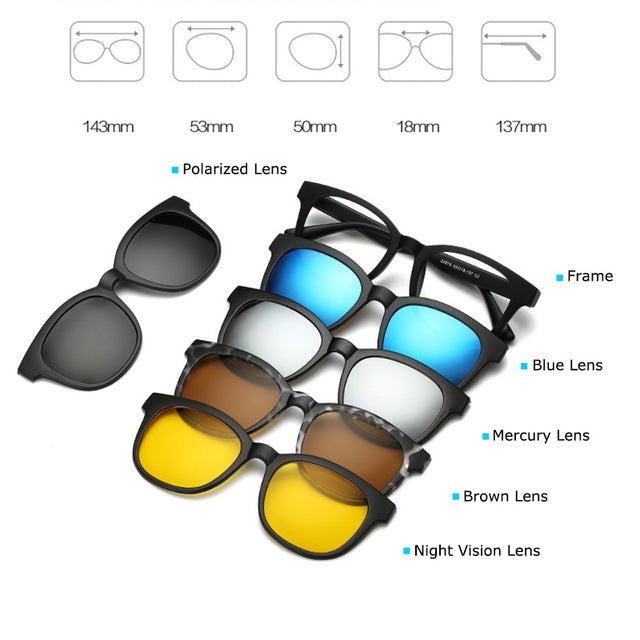 Fashion Spectacle Frame Men Women With 5 Pieces Clip On Sunglasses Polarized Magnetic Glasses Male Driving Myopia Optical RS120-novahe