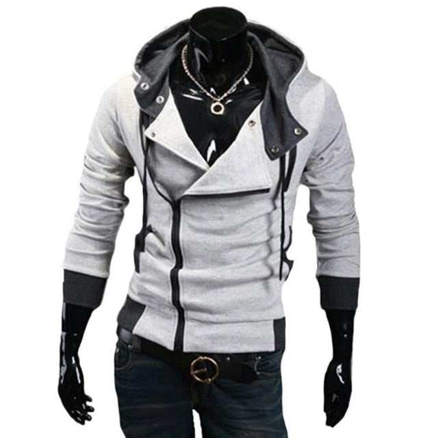 Mens Fashion Hoodies Sweatshirt Zipper Cardigan Tracksuit Casual Hooded Jacket moleton Assassins Creed Fleece Slim Coat-novahe