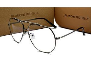 Fashion Stainless Steel Unisex Glasses Frame UV400 eyeglasses Frames Clear Glasses For Women Men Optical Gold Eyeglass With Box-novahe