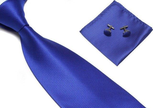100% Silk Tie Set for Men Woven Plaid Necktie Sets Blue Red Cufflik Pocket Square 2017 New Fashion High Quality Tie Handkerchief-novahe