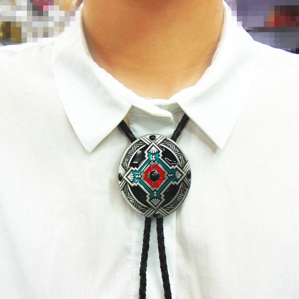 Western Cowboy Bolo Ties Vintage Jewelry Heart Turquoise Tribal Needlepoint Bola Tie Indian Rodeo Dance Necktie Native American Apparel Accessories