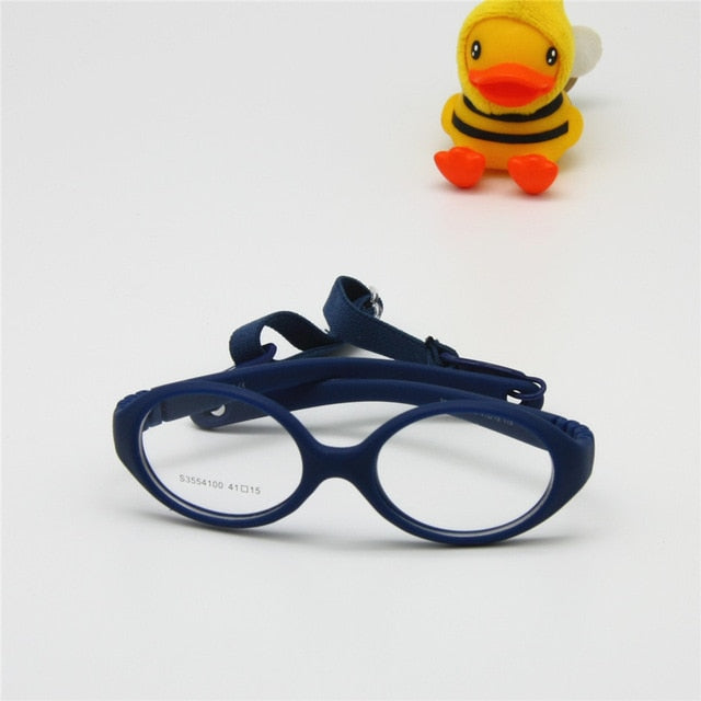 Italian Flexible No Screw Girls Glasses with Cord Size 41mm, Boys Glasses & Strap, Children Eyeglasses, Bendable Baby Eyeglasses-novahe