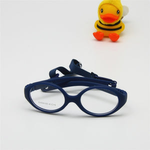 aa65a17832ed Italian Flexible No Screw Girls Glasses with Cord Size 41mm, Boys Glasses &  Strap,