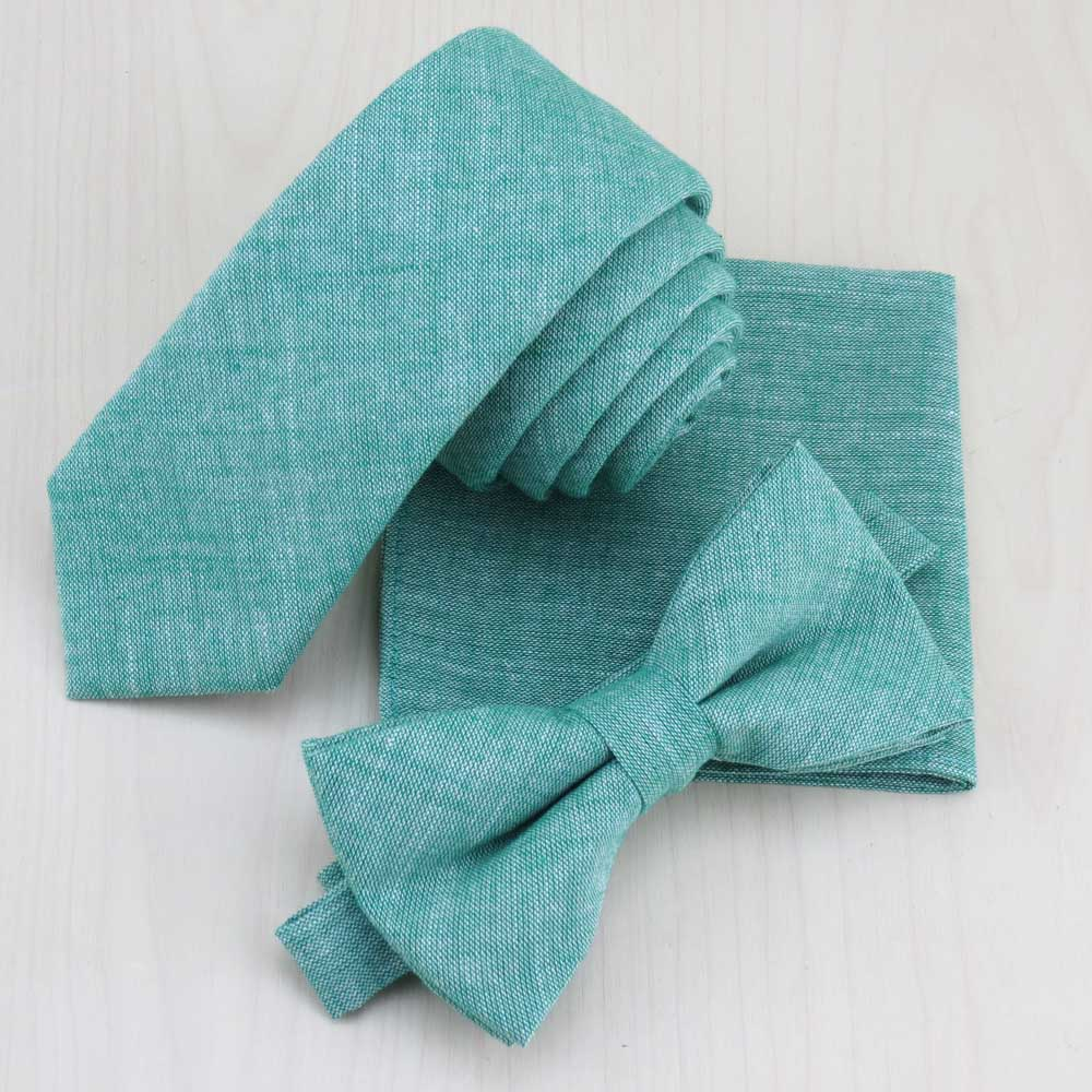(1 set/lot) Grass green cotton necktie bowtie Match pocket square set Men's fashion Monochrome narrow tie gravata-novahe
