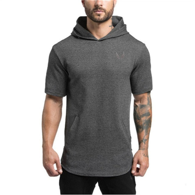 Brand Mens Short Hoodies Fashion pullover leisure coat gyms Fitness bodybuilding jacket Sweatshirt male sportswear clothing-novahe