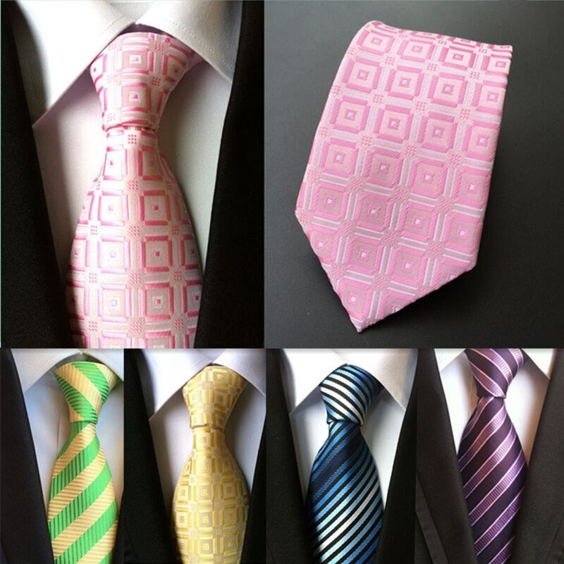 (1 pieces/lot) 100% silk ties 8 cm corbata plaid mens tie striped ties for men gravata pink necktie gold-novahe