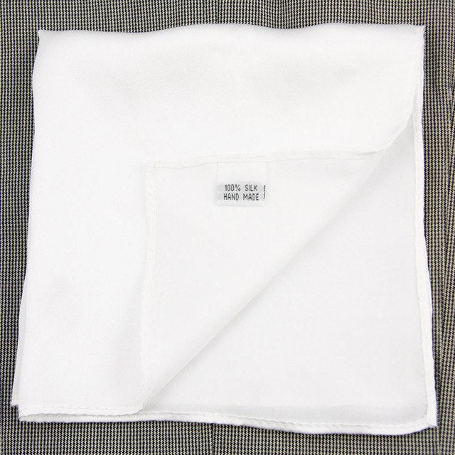 100/% Woven Silk Solid Twill Pocket Square White Free Shipping