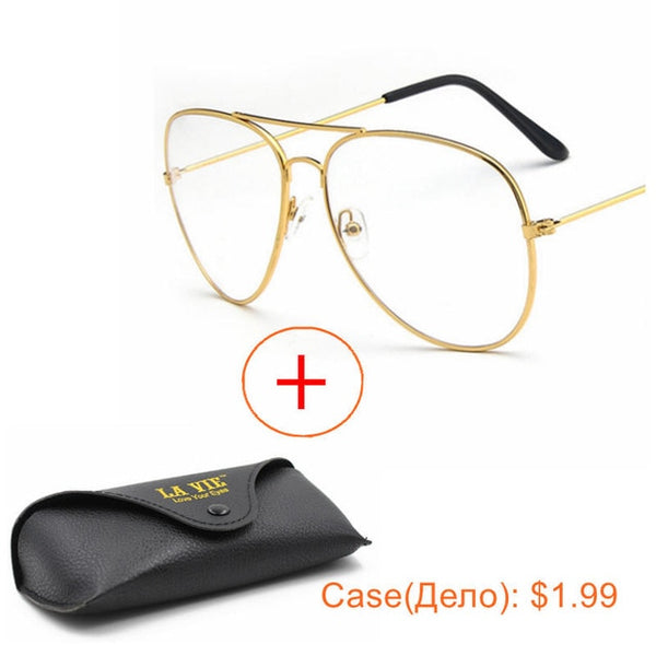 dac15339e7 ... Optical Gold Pilot Glasses Frames Women Men Brand Classic Glasses  Transparent Fashion Ray Ba Alloy Clear ...