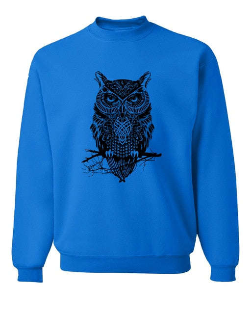 2017 new spring winter fashion owl animal sweatshirt hoodies hip hop style streetwear slim fit brand clothing tracksuit men-novahe