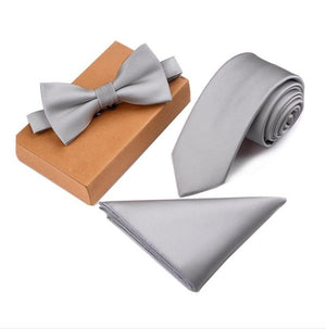 GUSLESON Slim Tie Set Men Bow Tie and Pocket Square Bowtie Necktie Cravate Handkerchief Papillon Man Corbatas Hombre Pajarita-novahe