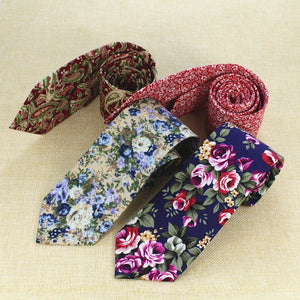 RBOCOTT 8cm Business Wedding Cotton Ties Retro Style Floral Ties New Fashion Paisley Tie Classic Party Necktie For Men Women-novahe