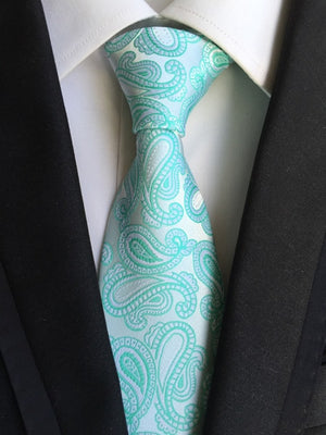Unique Design Neck Tie 8cm Formal Classic Mint Green Floral Ties High Quality Fashion Gentlemen Woven Gravata with for Men-novahe