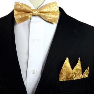 Paisley Floral Solid Yellow Gold Tuxedo Bow Tie Pre-tied Mens 100% Silk Adjustable Hanky Set Formal Fashion Casual Party-novahe