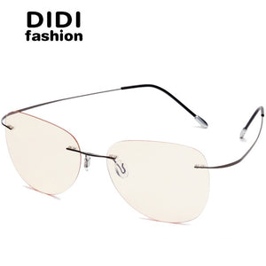 4db9bba1f7 DIDI Bendable Titanium Alloy Anti Blue Glasses Men Women Rimless Frame Thin  Eyeglasses Optical Computer Goggles