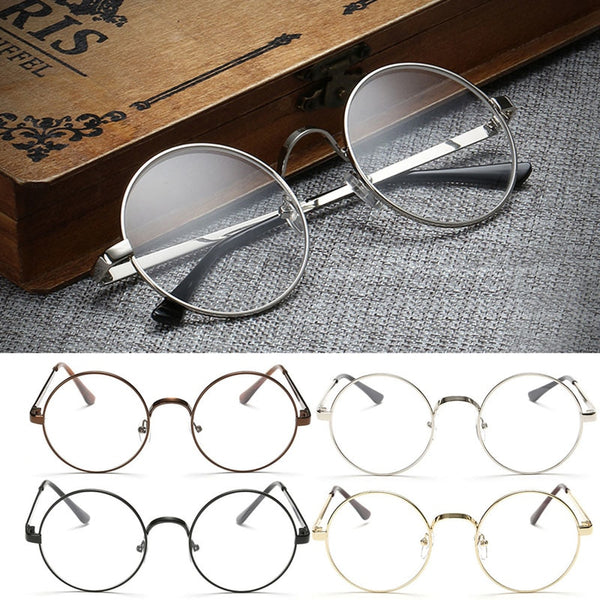 96ea1b3935 Vintage Gold Oval Eyeglass Frame Man Women Plain Glass Clear Full-Rim  Spectacles ...