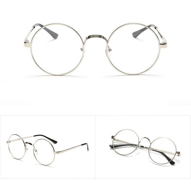 294bbc442c Vintage Gold Oval Eyeglass Frame Man Women Plain Glass Clear Full-Rim  Spectacles