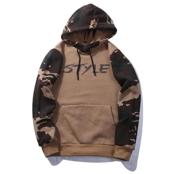 ASALI 2017 Sweatshirts Men Hoodies With Hat Print Style Autumn Winter Loose Camouflage Patchwork Casual Tracksuit Male US 2XL-novahe