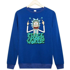 Comic Rick and Morty Free Rick Printing Pullovers Solid Black Thick Warm Fleece Sweatshirt Men Funny Hoodie-novahe