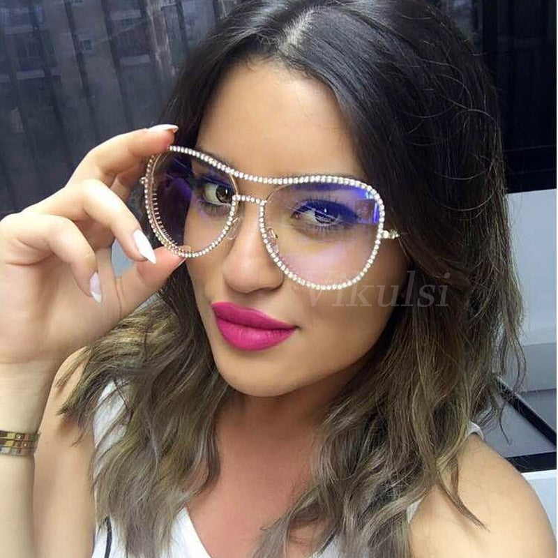 Oversized Clear Glasses 2017 New Famous Brand Design Transparent Glasses Women Rhinestone Frame Female Eyeglass Aviator Shades-novahe