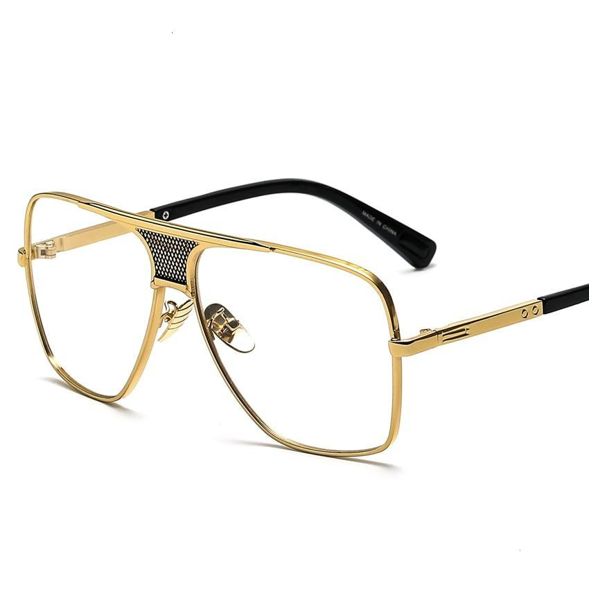 cee830cfc0a72 Peekaboo Luxury eye glasses frames for men 2017 top quality gold metal flat  top big man