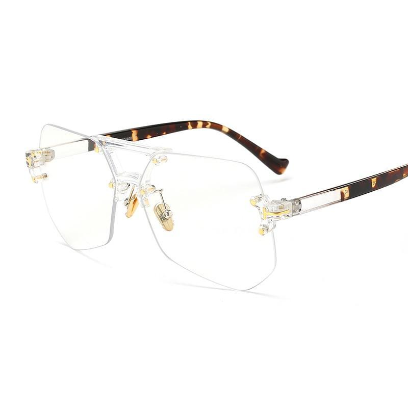 Peekaboo fashion clear transparent glasses frames for women men 2017 male spectacle frames rimless irregular-novahe