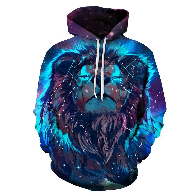 Lion Constellation Printed Hoodies 3D Men Women Hooded Pullover 6XL Sweatshirts Casual Pocket Outwear Novelty Coat ZOOTOP BEAR-novahe