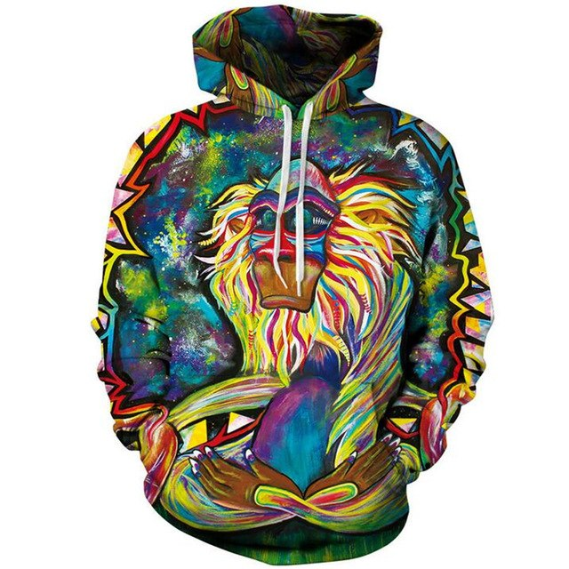 3D Hoodies Men Psychedelic Monkey 3d Printed Sweatshirts Autumn Winter Women Pullover Mens Casual Cap tracksuit Sudaderas Hombre-novahe