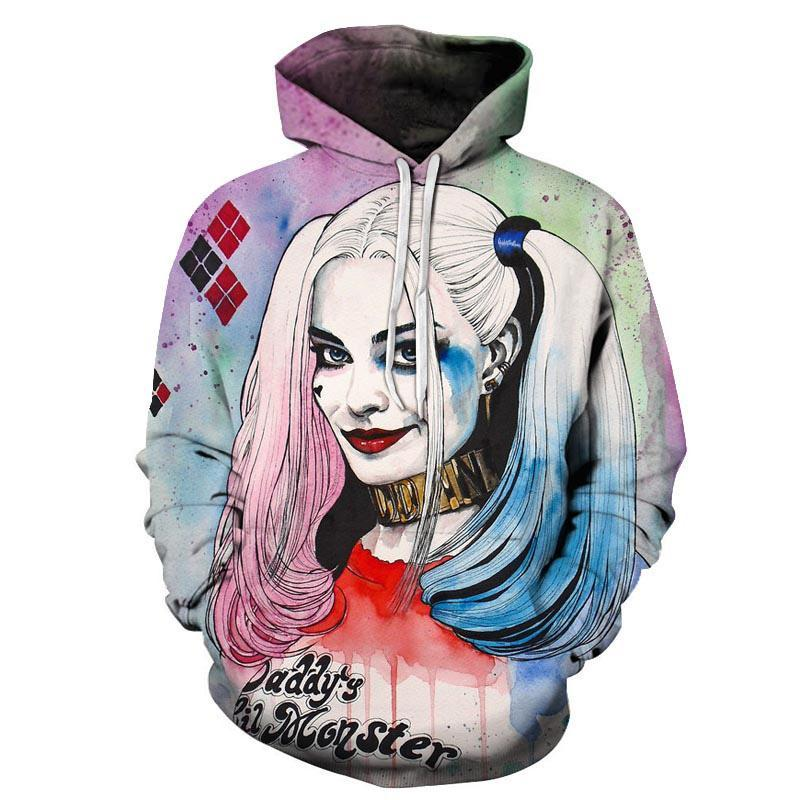 Harlley Quinn Hoodies 3D Hoodies Men Sweatshirts Movie Funny Pullover Hooded Tracksuits Fashion Novelty Joker Printed Male Coats-novahe