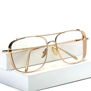 Square Oversized Vintage Clear Lens Glasses Sunglasses Gold Frame Men Women myopia glasses female eyeglasses oculos de grau-novahe