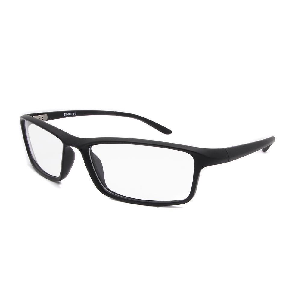 ESNBIE TR90 Men Optical Glasses Frame Square Eyeglasses Frame Male Matt Black Glasses Clear Lens New Oculos 78207-novahe