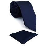 "Y25 Navy Solid Handmade Jacquard Woven Classic Extra Long Size Men Necktie Set Hankies Ties for men 63""-novahe"