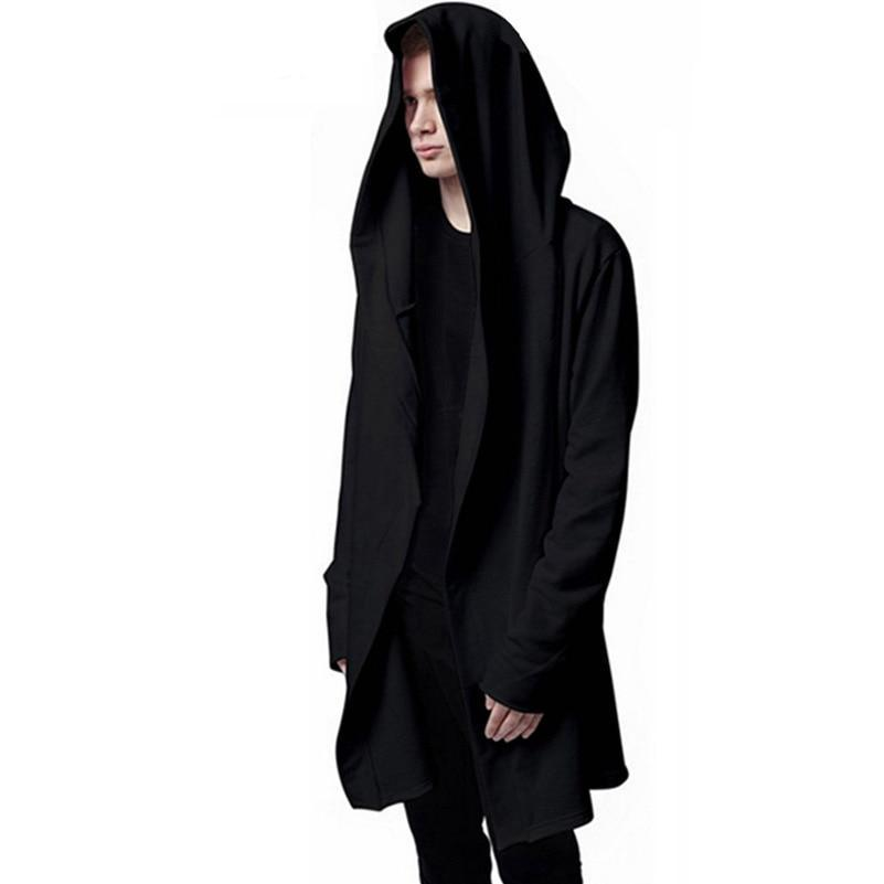 Aonibeier Men Hooded Sweatshirts With Black Gown Hip Hop Mantle Hoodies Fashion Jacket long Sleeves Cloak Man's Coats Outwear-novahe