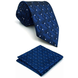 "A35 Navy Silver Geometric Mens Necktie Silk Fashion Wedding Dress Ties for male Brand New Novelty extra long size Hankies 63""-novahe"