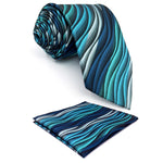 "Y23 Turquoise Multicolor Ripple Abstract Classic Silk Extra Long Size Mens Necktie Set hanky Ties for men 63""-novahe"