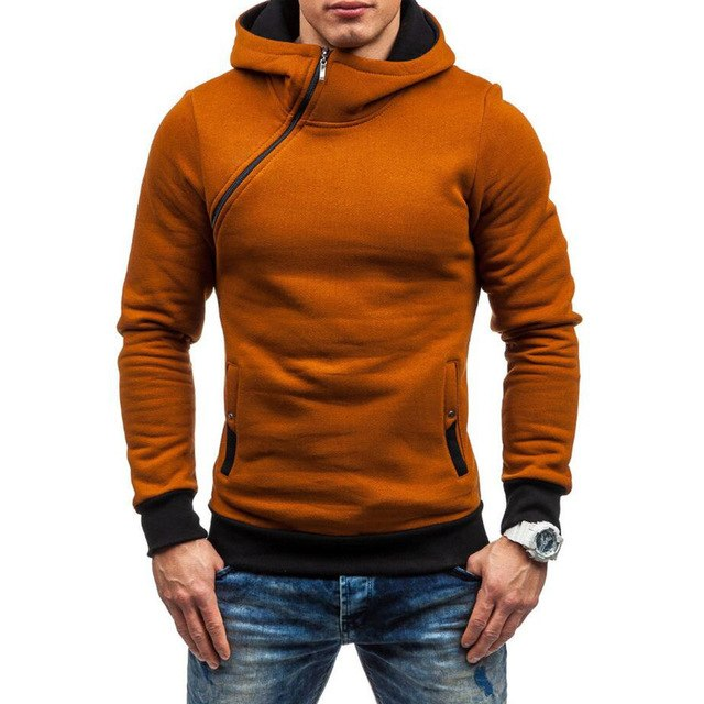 Men's Autumn Winter Color Block Slanted Zipper Hoodie Warm Hooded Sweatshirt-novahe